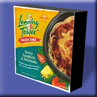 Leaning Tower Pasta Uno : Saucy Spaghetti & Meatballs